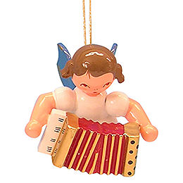 Tree Ornament  -  Angel with Accordion  -  Blue Wings  -  Floating  -  5,5cm / 2,1 inch