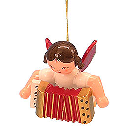 Tree Ornament  -  Angel with Accordion  -  Red Wings  -  Floating  -  5,5cm / 2,1 inch