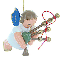 Tree Ornament  -  Angel with Bagpipe  -  Blue Wings  -  Floating  -  5,5cm / 2.2 inch