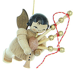 Tree Ornament  -  Angel with Bagpipe  -  Natural Colors  -  Floating  -  5,5cm / 2.2 inch