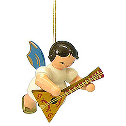 Tree Ornament  -  Angel with Balalaika  -  Blue Wings  -  Floating  -  5,5cm / 2,1 inch