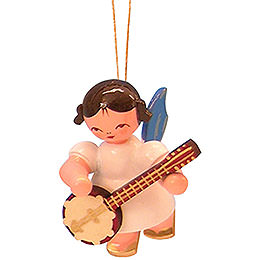 Tree Ornament  -  Angel with Banjo  -  Blue Wings  -  Floating  -  5,5cm / 2,1 inch