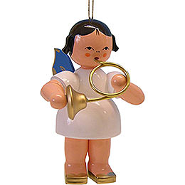Tree Ornament  -  Angel with Blue Horn  -  Blue Wings  -  9,5cm / 3.7 inch