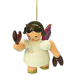 Tree Ornament  -  Angel with Castanet  -  Red Wings  -  Floating  -  5,5cm / 2,1 inch