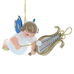 Tree Ornament  -  Angel with Chime  -  Blue Wings  -  Floating  -  5,5cm / 2.2 inch