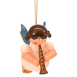 Tree Ornament  -  Angel with Clarinet  -  Blue Wings  -  Floating  -  5,5cm / 2,1 inch
