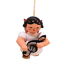 Tree Ornament  -  Angel with Clef  -  Red Wings  -  Floating  -  5,5cm / 2.2 inch