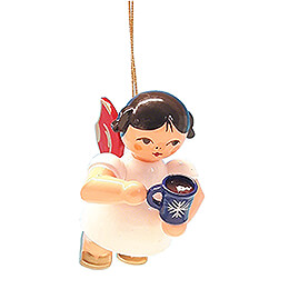 Tree Ornament  -  Angel with Cup of Mulled Wine  -  Red Wings  -  Floating  -  5,5cm / 2.2 inch