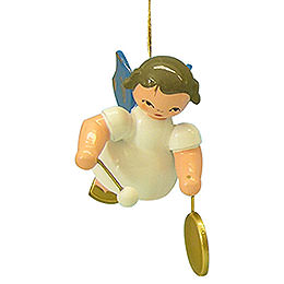 Tree Ornament  -  Angel with Small Gong  -  Blue Wings  -  Floating  -  5,5cm / 2,1 inch