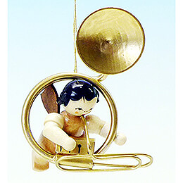 Tree Ornament  -  Angel with Sousaphone  -  Natural Colors  -  Floating  -  5,5cm / 2.2 inch