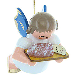 Tree Ornament  -  Angel with Stollen Plate  -  Blue Wings  -  Floating  -  5,5cm / 2.2 inch
