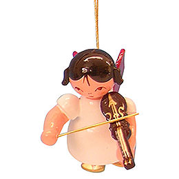 Tree Ornament  -  Angel with Violin  -  Red Wings  -  Floating  -  5,5cm / 2,1 inch
