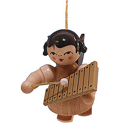 Tree Ornament  -  Angel with Xylophone  -  Natural Colors  -  Floating  -  5,5cm / 2.2 inch