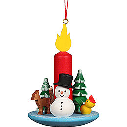 Tree Ornament Candle with Snowman  -  5,4x7,4cm / 2.2x2.9 inch