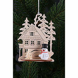 Tree Ornament  -  Forest House with Mini Snowman, Set of Three  -  9x8cm / 3.5x3. inch
