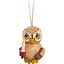 Tree Ornament  -  Owl Child with Candle  -  4cm / 1.6 inch