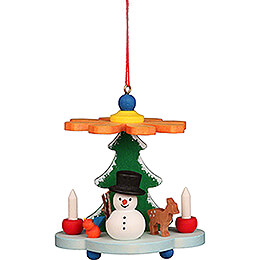 Tree Ornament  -  Pyramid with Snowman  -  7,5cm / 3.0 inch