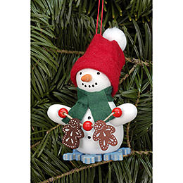 Tree Ornament  -  Snowman with Ginger Bread  -  6,0x8,0cm / 2.4x3.1 inch