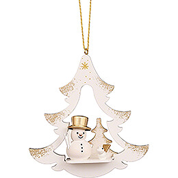 Tree Ornament  -  Tree White with Snowman  -  8,7cm / 3.4 inch