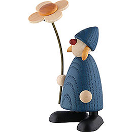Well - Wisher Susi with Flower Standing, Blue  -  9cm / 3.5 inch